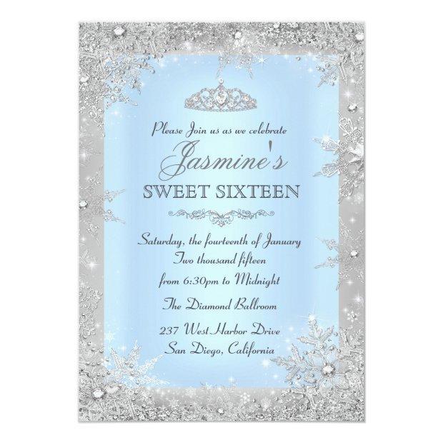 Silver Winter Wonderland Blue Sweet 16 Invitations