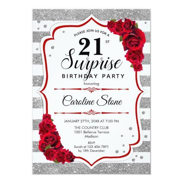 Surprise 21st Birthday - Silver White Red Invitation