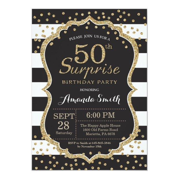 Surprise 50th Birthday Invitation. Gold Glitter Invitations