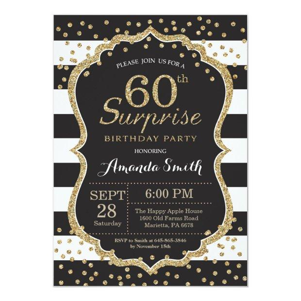 Surprise 60th Birthday Invitation. Gold Glitter Invitations