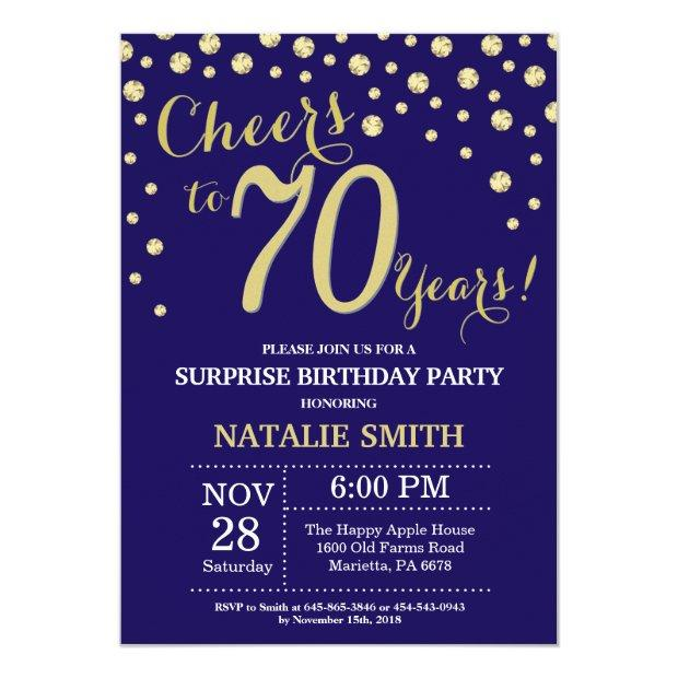 Surprise 70th Birthday Navy Blue And Gold Diamond Invitation