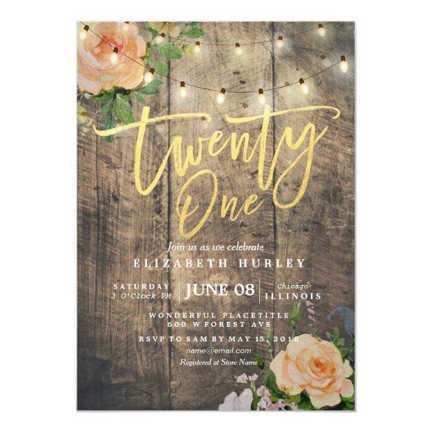 Twenty One Birthday Party Wood Flower String Light Invitation