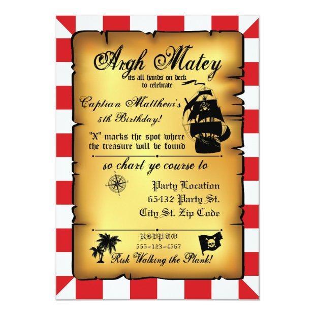 Vintage Pirate Party, Birthday Invitation. Invitations
