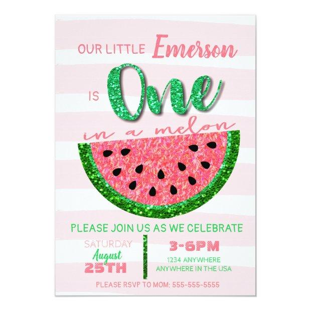 Watermelon, One In A Melon Invitations Glitter
