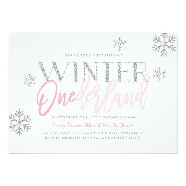 Winter Onederland Silver Glitter Pink 1st Birthday Invitations