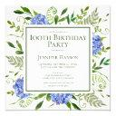 100th birthday blue hydrangeas floral watercolor invitation