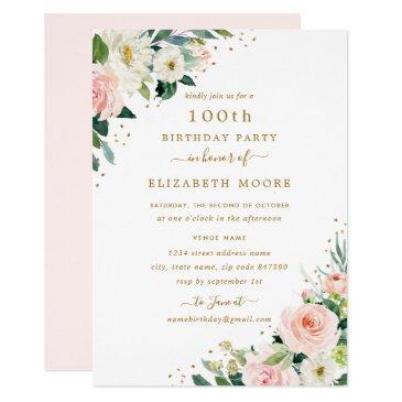 100th birthday floral blush gold invitation