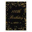 100th birthday glamorous gold confetti invitations