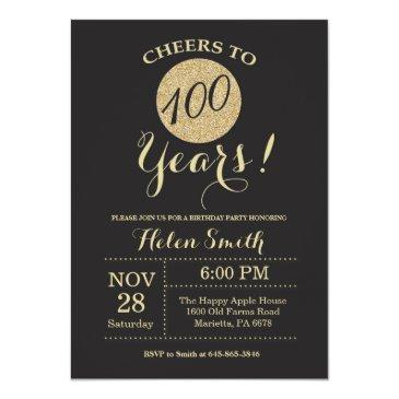 100th birthday invitations black and gold glitter