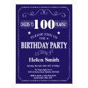 100th birthday invitation navy blue and whit