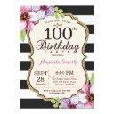 100th birthday invitations women. floral gold black