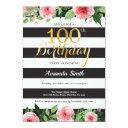 100th birthday invitation women. floral gold black