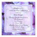 100th birthday party invitations purple hydrangeas