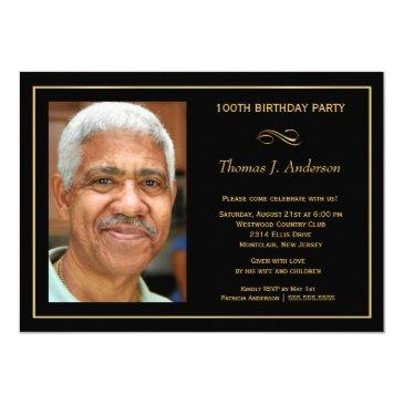 100th birthday party men's black and gold photo invitation