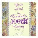 100th purple butterfly birthday invitation bling
