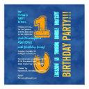10th birthday blue and gold modern grunge g10b invitation