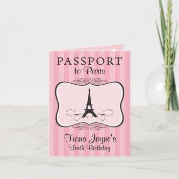 10th birthday paris passport invitations