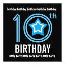 10th birthday party modern blue and black w689 invitation