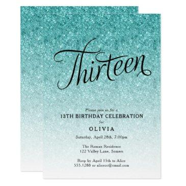 13th birthday blue ombre glitter invitation