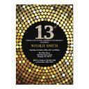 13th birthday invitation black and gold glitter