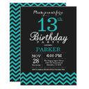 13th birthday invitation black and teal