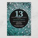 13th birthday invitation black and teal glitter