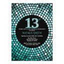 13th birthday invitation black and teal glitter