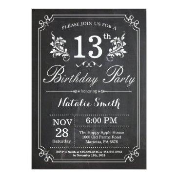 13th birthday invitations floral chalkboard