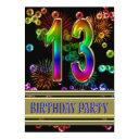13th birthday party invitation with bubbles
