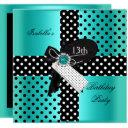 13th birthday party polka dots teal blue invitations