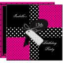 13th birthday polka dot hot pink black white invitations