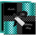 13th birthday polka dot teal blue black white 2 invitations