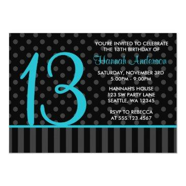 13th birthday teal blue black polka dot stripes invitation