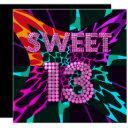 13th sweet 13 birthday party mixed animal print invitations