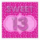 13th sweet 13 birthday party pink polka dots invitation