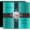 13th teen birthday party teal blue black polka dot invitations