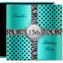 13th teen birthday party teal blue black zebra invitations