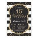 15th birthday invitation. black and gold glitter invitation