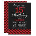 15th birthday invitation black and red