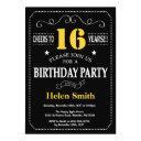 16th birthday black and yellow chalkboard invitation
