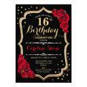 16th birthday - black gold red roses invitation