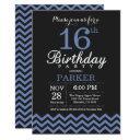 16th birthday invitation black and blue