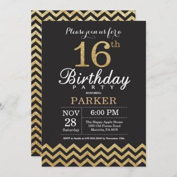 16th birthday invitation black and gold glitter