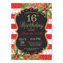16th birthday invitations. christmas red black gold invitations