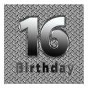 16th birthday party invitation - metal