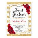 16th birthday - red gold white stripes roses invitation