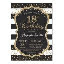 18th birthday invitation. black and gold glitter invitation