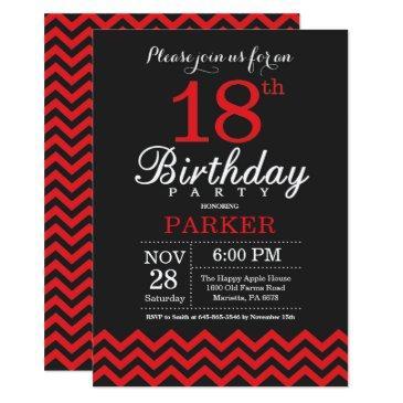 18th birthday invitation black and red