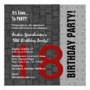18th birthday modern red silver black d417 invitation