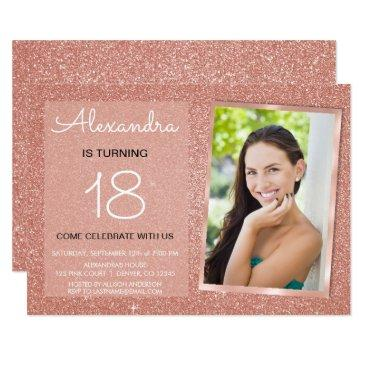 18th sparkle rose gold blush pink photo invitation